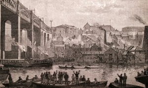 The High Level Bridge - Newcastle-on-Tyne - A Boat Race Scene