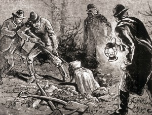 Original caption: Picture shows body snatchers stealing a corpse from the grave. Undated engraving. BPA2# 1023. --- Image by © Corbis
