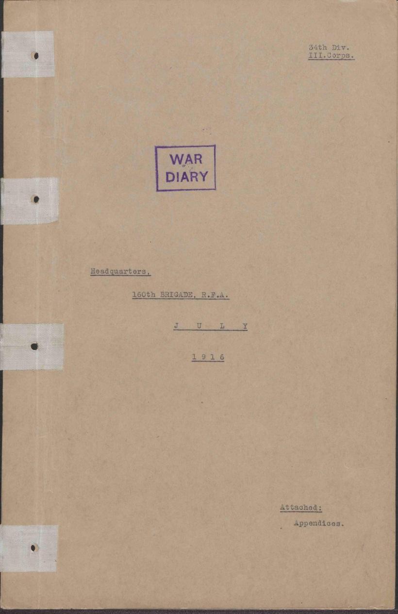 160th 1916 War Diary 1
